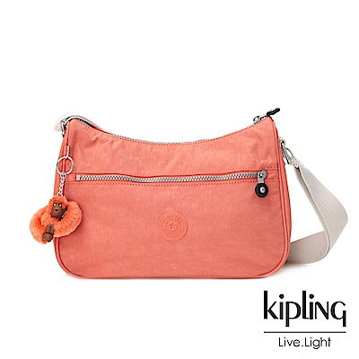 Kipling粉橘素面側背包(中)