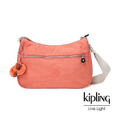 Kipling粉橘素面側背包中