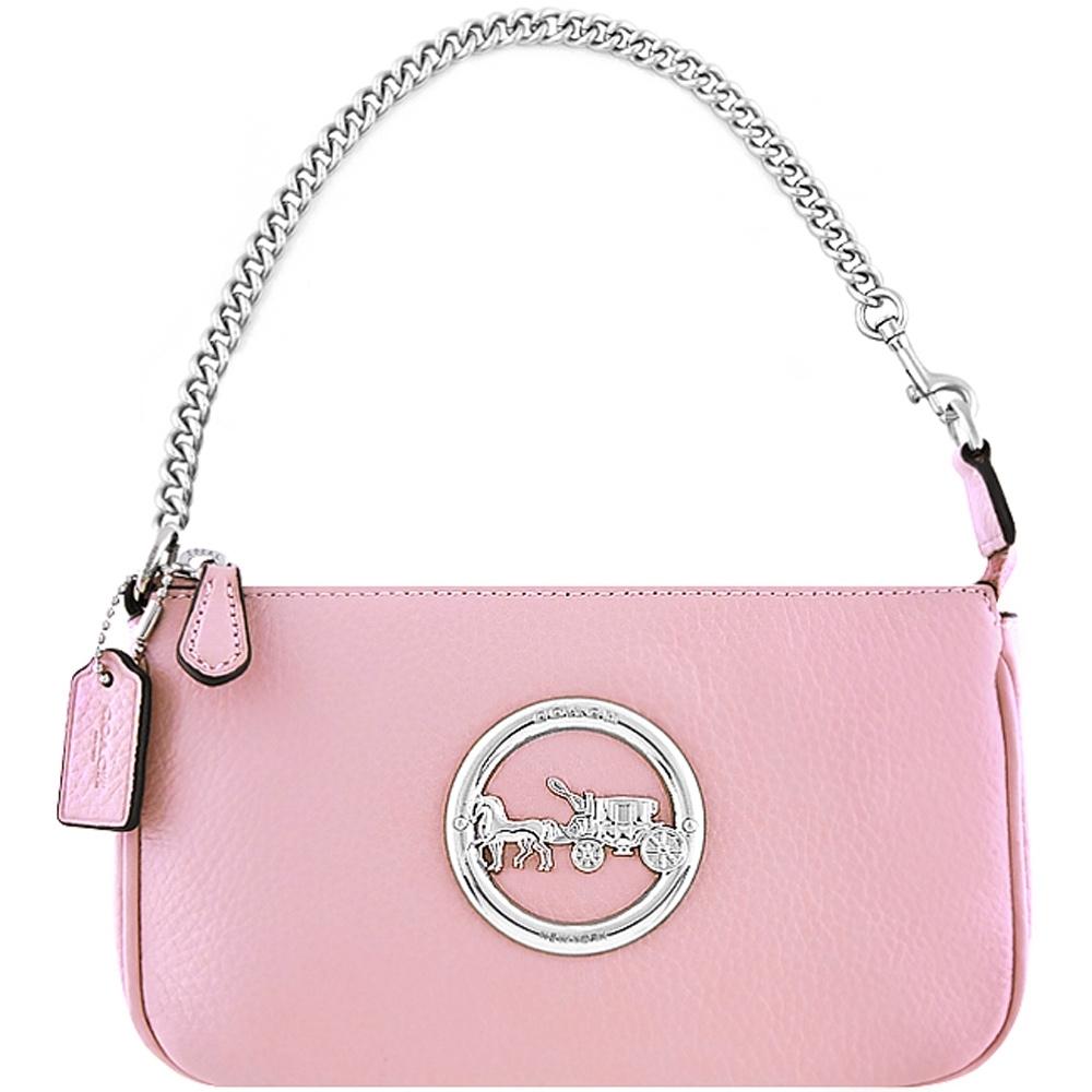 COACH 櫻花粉色荔枝紋皮革鍊帶手提包