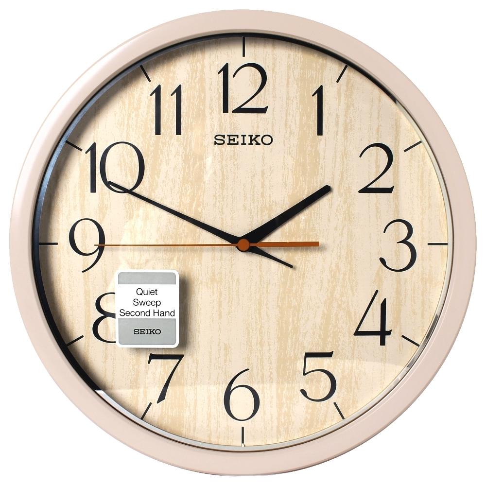 SEIKO 精工歐風仿木紋 滑動式秒針 靜音 時鐘 掛鐘塑膠外殼(QXA718A-31cm)