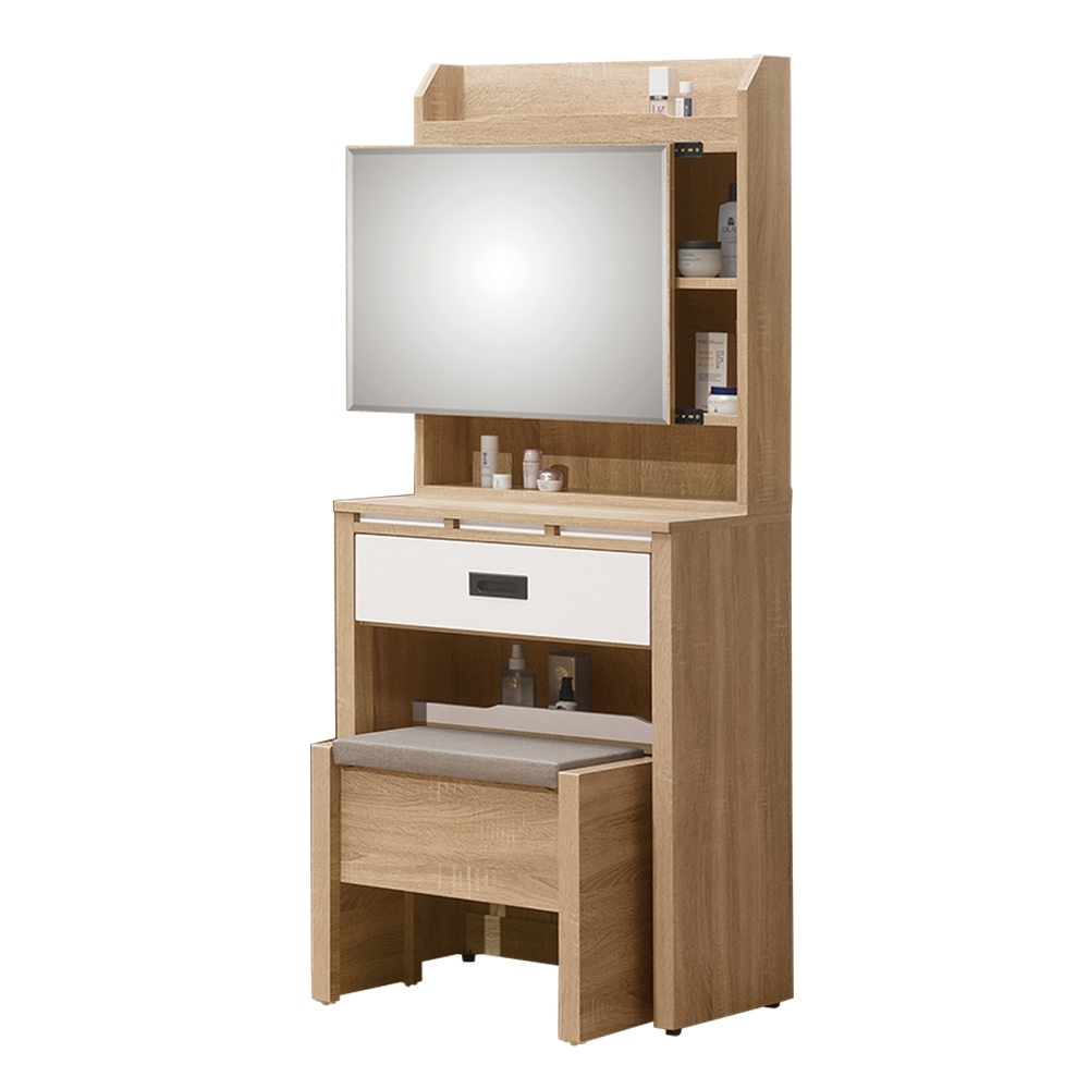 Bernice-喬科2尺化妝桌/鏡台(贈化妝椅)-60x40x153cm