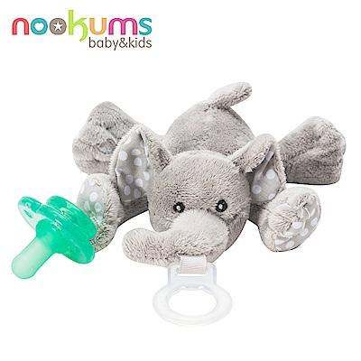 美國 nookums 寶寶可愛造型搖鈴安撫奶嘴/玩偶-小灰象