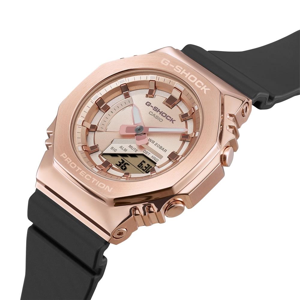 CASIO卡西歐 G-SHOCK 玩美時尚 玫瑰金 金屬錶殼 八角形錶殼 GM-S2100PG-1A4_40.4mm