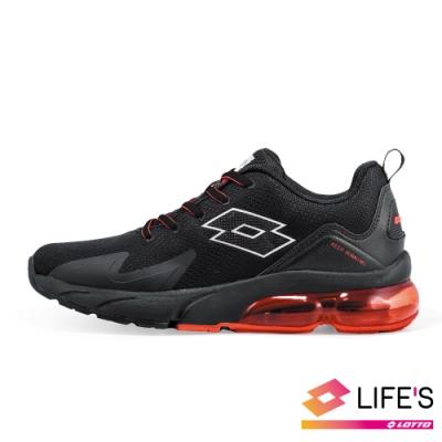 LOTTO 義大利 男 VOLARE RUN 氣墊跑鞋 (黑紅)