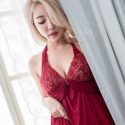 性感睡衣 深V細肩帶連身睡衣薄紗睡衣 中大尺碼睡衣  流行E線