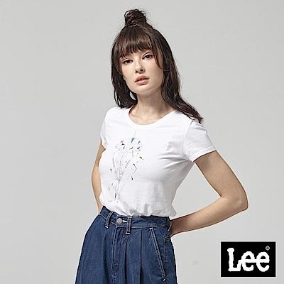 Lee 水晶生命之樹落肩短袖圓領TEE-白