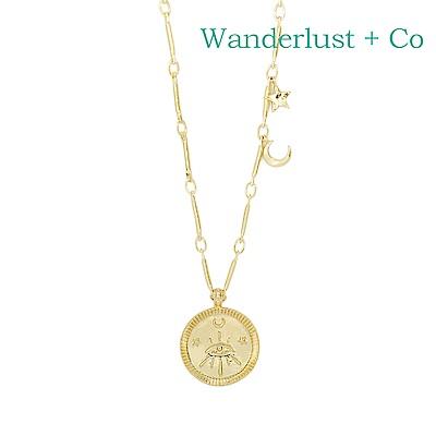 Wanderlust+Co 澳洲時尚品牌 Aleya 神秘星月圓牌項鍊 金色