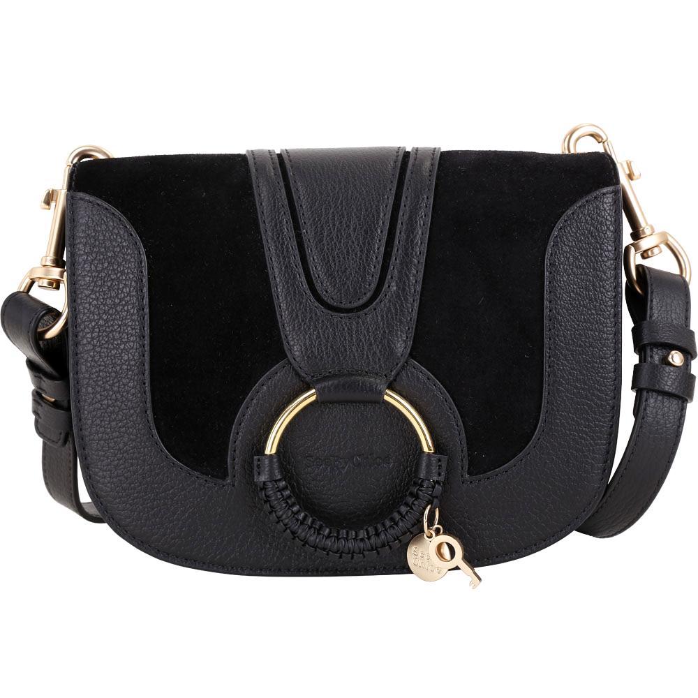 SEE BY CHLOE HANA 小款編織金屬圈拼接麂皮手拿/肩背包(黑色)