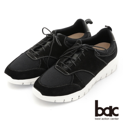 【bac】嚴選真皮 時尚針織輕量舒適休閒鞋-黑