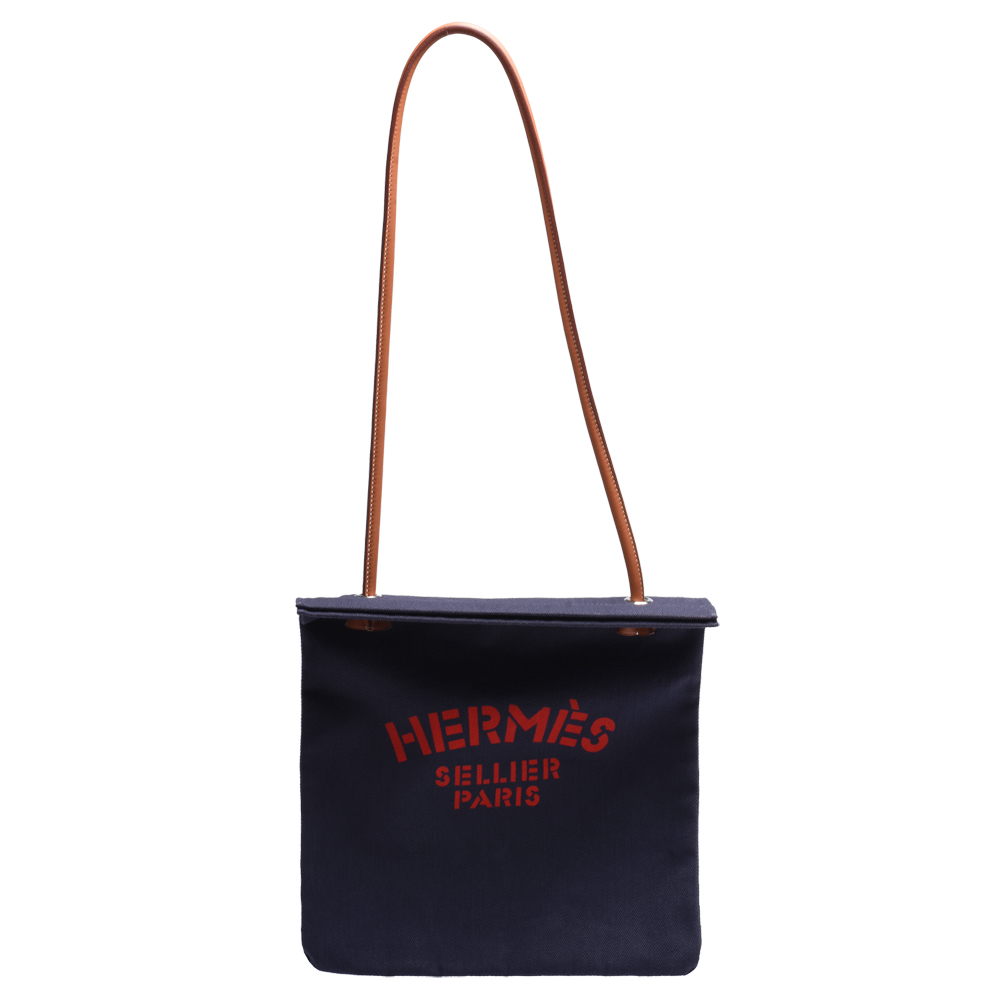 HERMES 經典ALINE TOTE BAG系列字母LOGO帆布肩背包(海軍藍X紅)