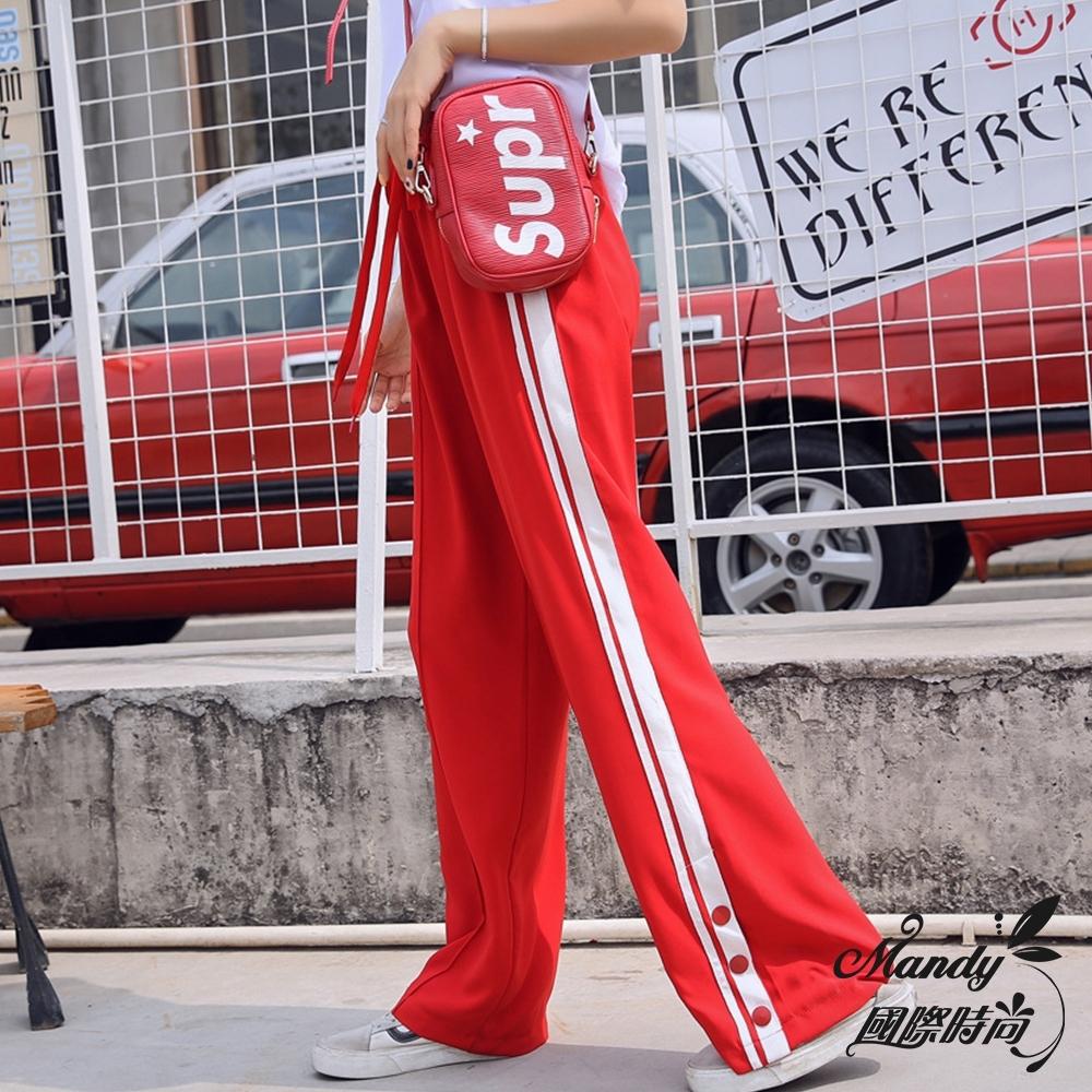 Mandy國際時尚 長褲 薄款高腰顯瘦寬鬆直筒闊腿學生運動褲