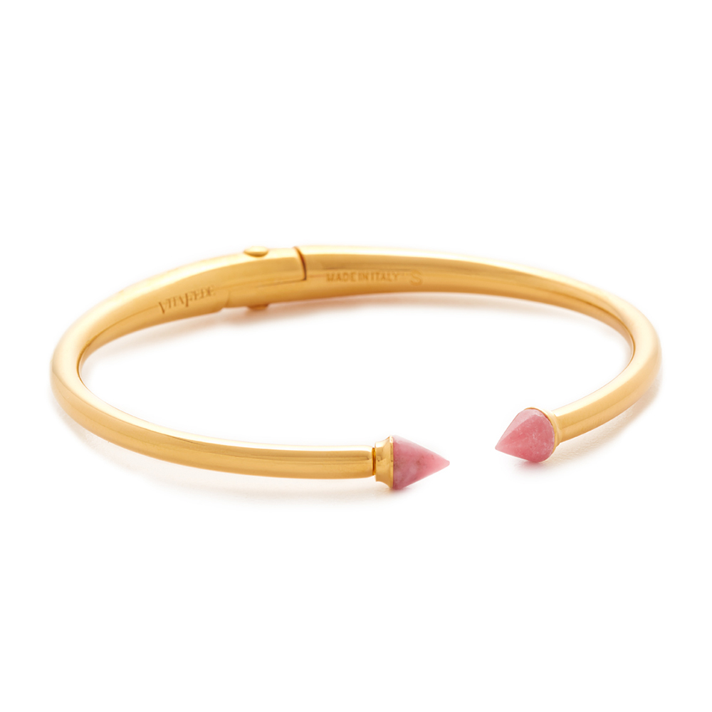 VITA FEDE 義大利品牌 迷你泰坦 粉色礦石金色C式細手環