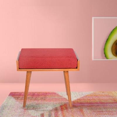 E-home Aurora歐若拉實木兩用造型長板凳 紅色