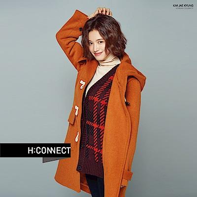H:CONNECT 韓國品牌 女裝-雙口袋牛角扣連帽外套-橘