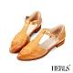 HERLS低跟鞋-全真皮沖孔T字瑪莉珍尖頭低跟鞋-棕色 product thumbnail 1