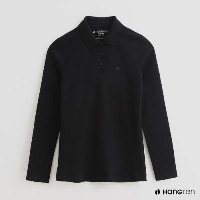 Hang Ten女裝素面純色POLO衫黑