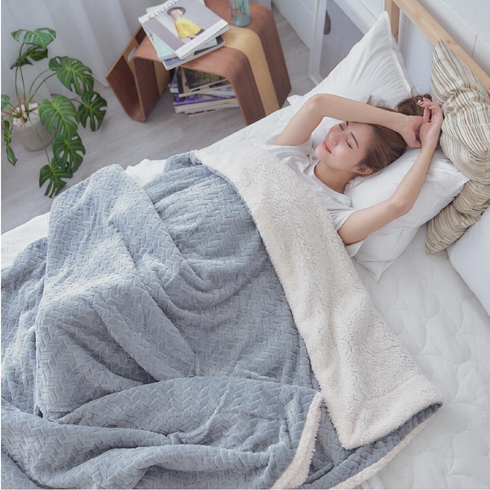 BUHO 文青感質純色法蘭絨/羊羔絨雙層暖絨毯(150x200cm)-個性灰