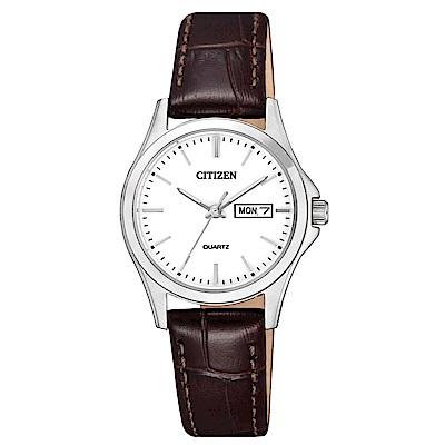 CITIZEN 婉約佳人壓紋皮帶石英女錶(EQ0591-21A)-白x27.5mm