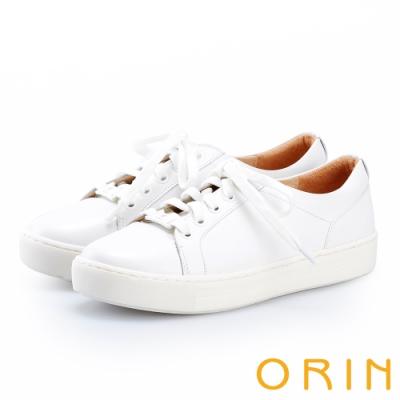ORIN 質感素面牛皮綁帶休閒鞋 白色