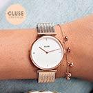 CLUSE TRIOMPHE 凱旋門系列腕錶 (玫瑰金框/白錶面/銀x玫瑰金凱旋錶帶)