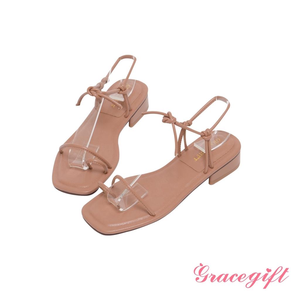 Grace gift-一字套趾綁帶低跟涼鞋 棕