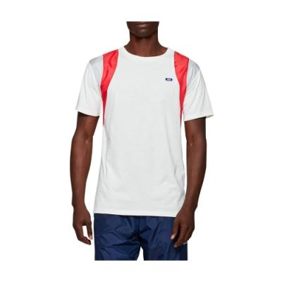 ASICS 拼接色塊短袖上衣 男 2191A163-100(白紅)