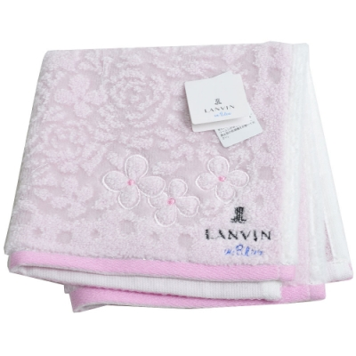 LANVIN en Bleu 圖騰品牌字母LOGO刺繡花朵圖騰小方巾(粉紅系)