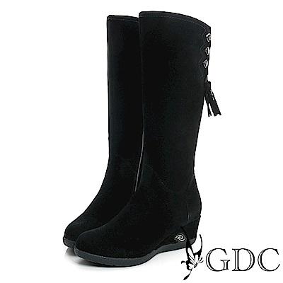 GDC-麂皮側流蘇楔型底真皮長靴-黑