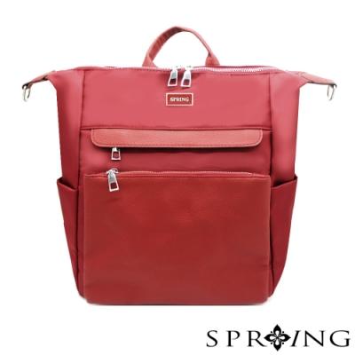 SPRING-未來系列尼龍3用後背包 A4可-寶石紅