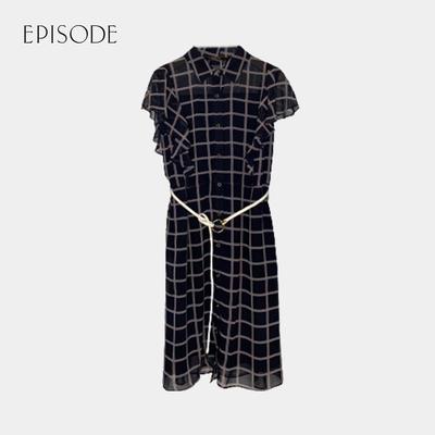 EPISODE - 顯瘦格紋襯衫領短袖雪紡洋裝(深藍)