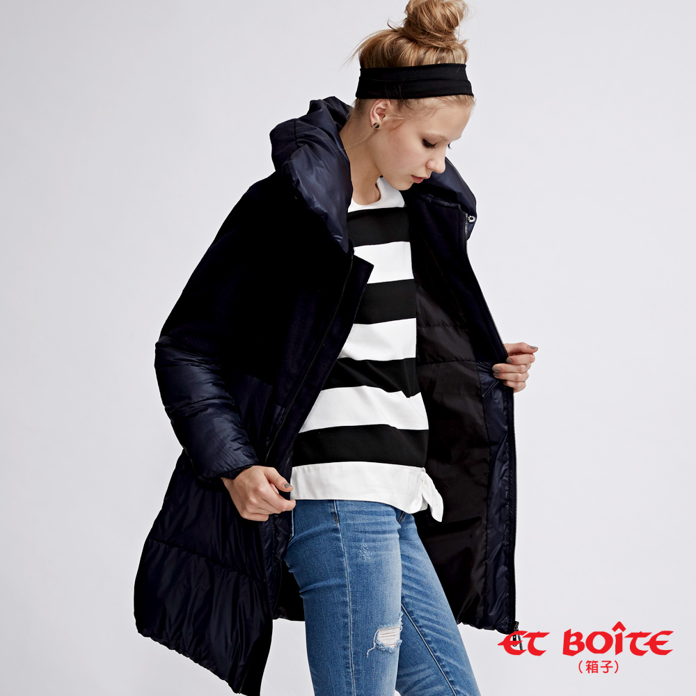 ETBOITE 箱子  高質感羊毛拼接可拆領長版羽絨大衣
