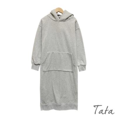 連帽大口袋刷毛洋裝 共二色 TATA-(M/L