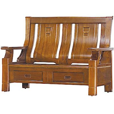 綠活居 威尼典雅風實木二人座沙發椅(二抽屜設置)-134x77x102cm免組