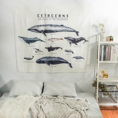 樂嫚妮 裝飾掛毯/掛布/門簾/桌巾-鯨魚 150X130cm