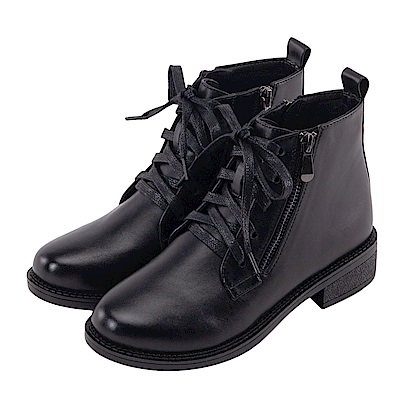 Grace gift-帥氣造型拉鍊綁帶短靴 黑