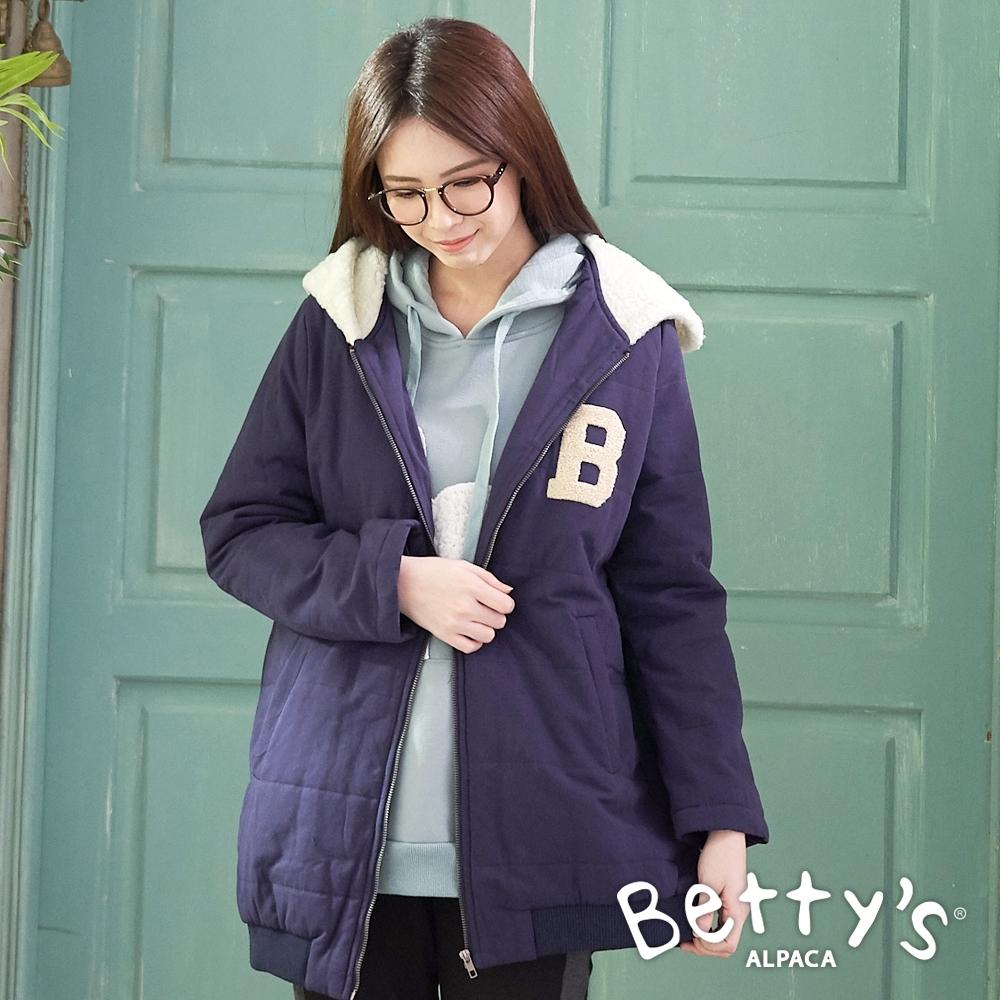 betty's貝蒂思 連帽後繡字母拉鍊鋪棉大衣(深藍)