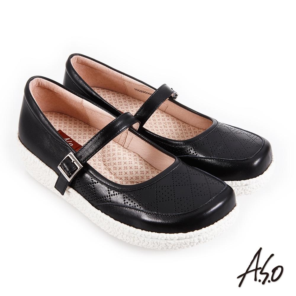 A.S.O 機能休閒 紓壓氣墊簡約條帶方楦休閒鞋-黑