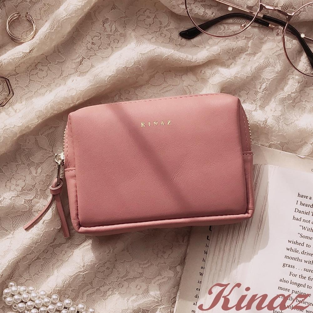 KINAZ 柔軟真皮卡片萬用零錢包-玫瑰甜粉紅-小物魔法系列