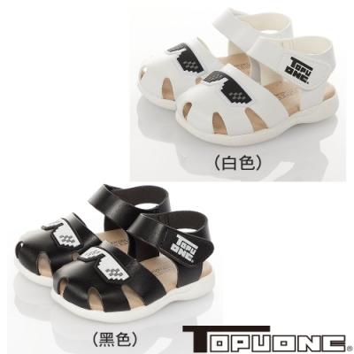 TOPUONE童鞋 傳統手工鞋超纖皮革防滑學步涼鞋 白.黑