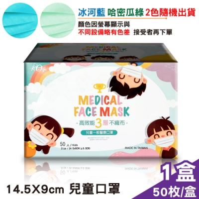 (防偽LOGO外盒) 宏瑋 兒童醫療口罩(冰河藍/哈密瓜綠) 隨機出貨 -50入/盒 (台灣製 CNS14774)