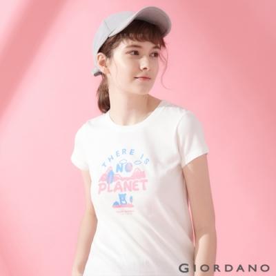 【GIORDANO】女裝DEAR WORLD系列印花T恤-71 皎雪
