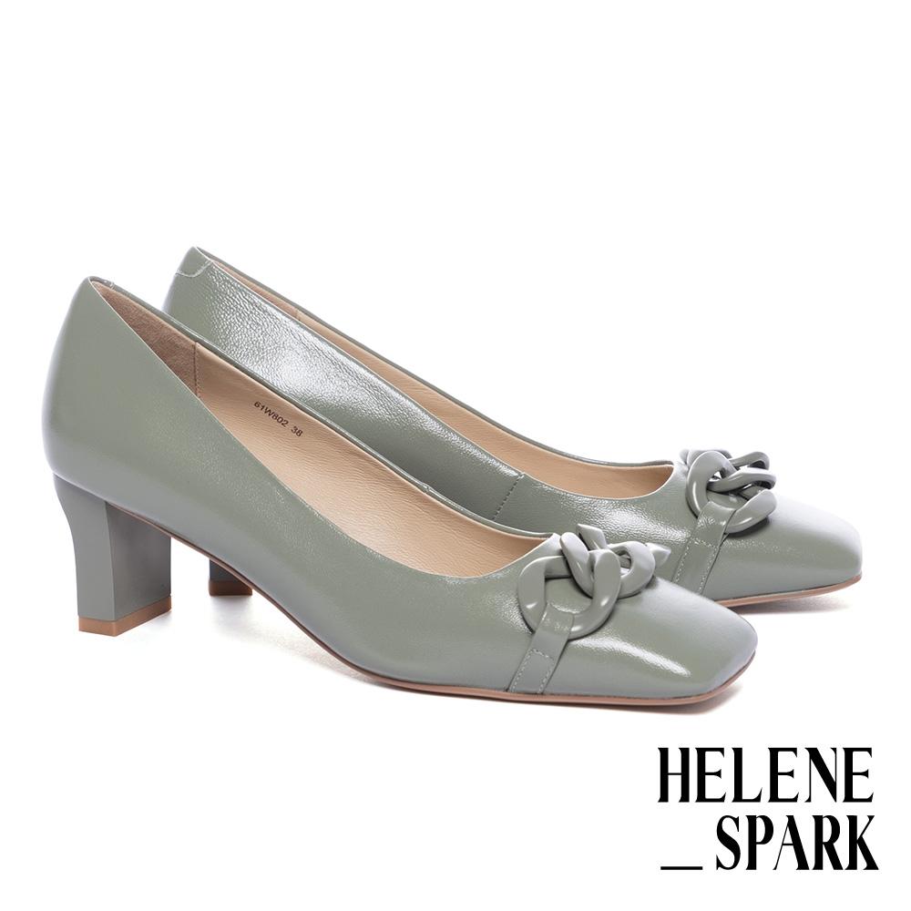 高跟鞋 HELENE SPARK 柔美時髦純色鏈條方頭高跟鞋-綠