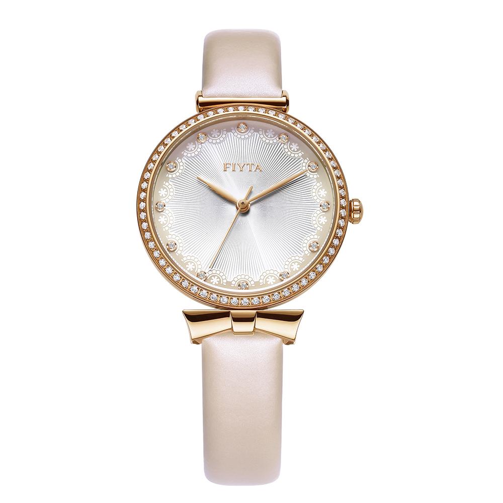 FIYTA飛亞達 Young+ 氣質出眾女錶-白x淡粉色錶帶/32mm