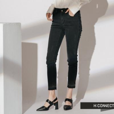 H:CONNECT 韓國品牌 女裝- 仿舊刷色抽鬚牛仔褲-黑