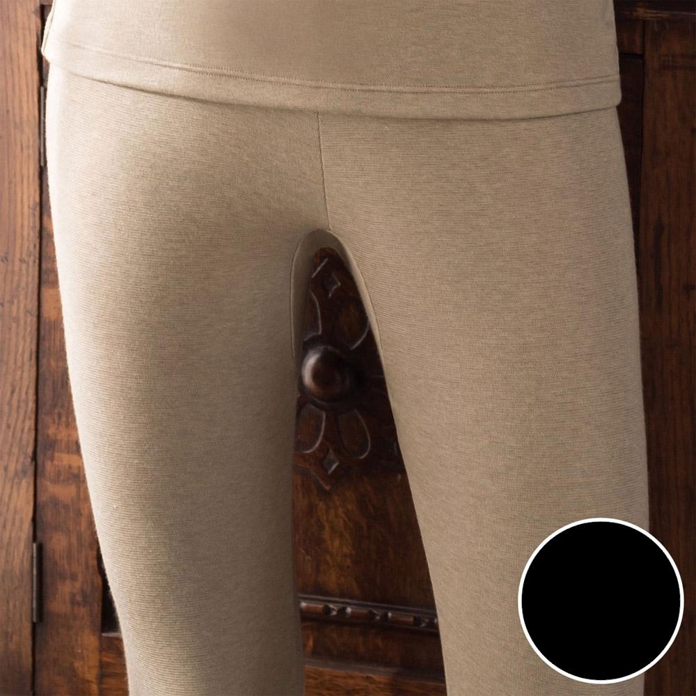華歌爾-NEW EKS升級發熱 M-LL九分保暖褲(黑) 保暖-舒適-居家-日本發熱紗