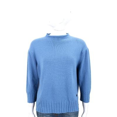 Andre Maurice 喀什米爾側開叉蔚藍色捲邊羊毛衫