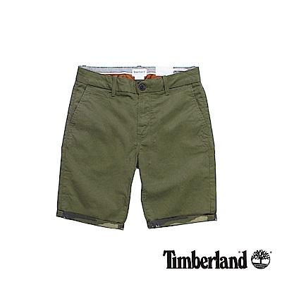 Timberland-男款綠色反折休閒短褲