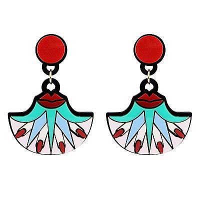 Yazbukey法國品牌 紅脣x手指設計垂墜夾式耳環