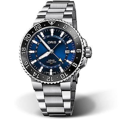 Oris豪利時AQUIS GMT雙時區陶瓷圈潛水錶-43.5mm(鋼帶/藍)