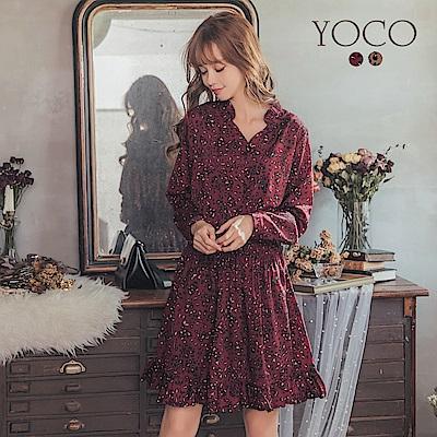 東京著衣-yoco 歐膩首選印花豹紋腰鬆緊排釦雪紡洋裝-S.M.L(共二色)